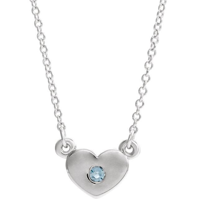 14K White Aquamarine Heart 16