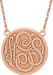 14K Rose 25 mm 3-Letter Script Monogram Necklace