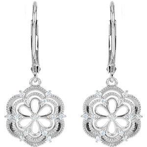Sterling Silver 1/6 CTW Diamond Lever Back Earrings