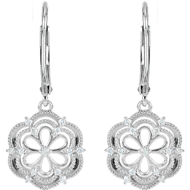 Sterling Silver 1/6 CTW Diamond Lever Back Earrings