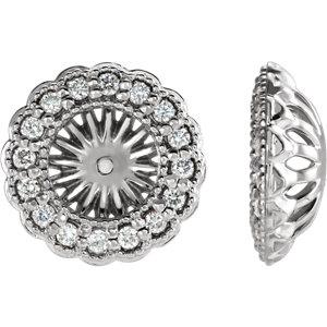 Earring Jackets, Sterling Silver 1/2 CTW Diamond Earring Jackets