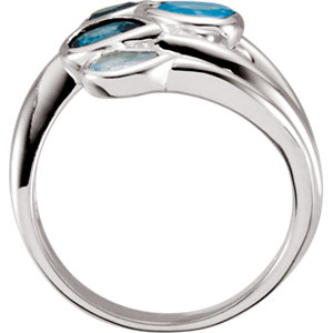 Sky Blue Topaz, London Blue Topaz & Swiss Blue Topaz Bypass Ring
