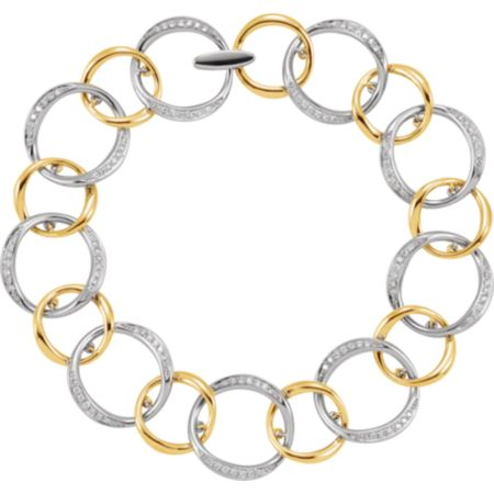 14K White & Yellow 3/4 CTW Diamond Link Bracelet