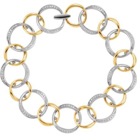 14K White & Yellow 3/4 CTW Diamond Link Bracelet