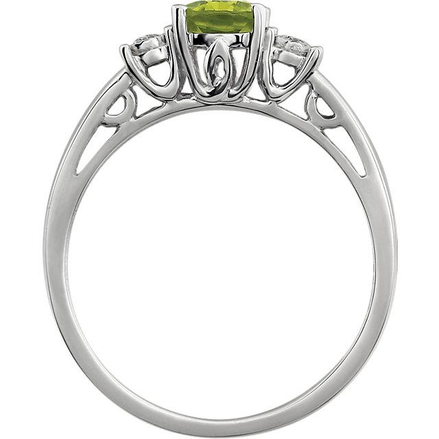 14K White Peridot & .04 CTW Diamond Ring