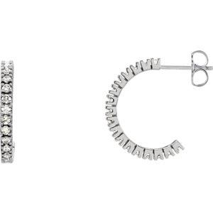 14K White 5/8 CTW Diamond Hoop Earrings