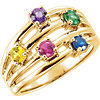 14K Yellow 5-Stone Family Ring Mounting