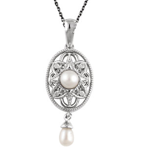 Sterling Silver Freshwater Cultured Pearl & .025 CTW Diamond 18