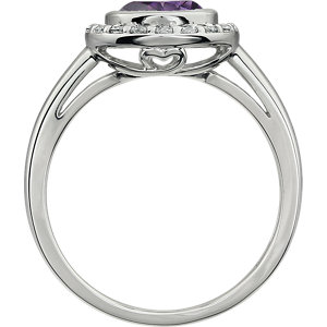 Sterling Silver Purple Cubic Zirconia Ring