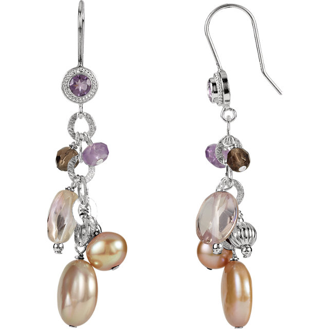 Sterling Silver Freshwater Cultured Pearl & Multi-Gemstone Earrings