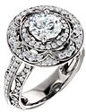 14K White 6.5 mm Round 5/8 CTW Diamond Semi-mount Engagement Ring