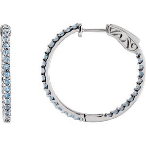 14K White Sky Blue Topaz Hoop Earrings
