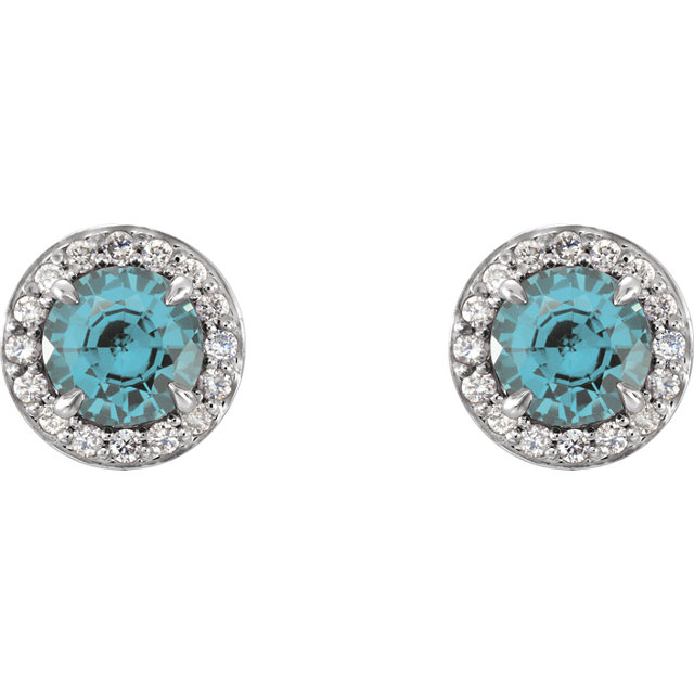 14K White 5 mm Round Aquamarine & 1/6 CTW Diamond Earrings