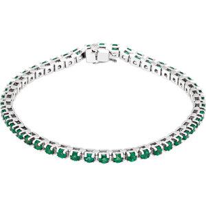 Bracelet, 14K White Emerald Line Bracelet