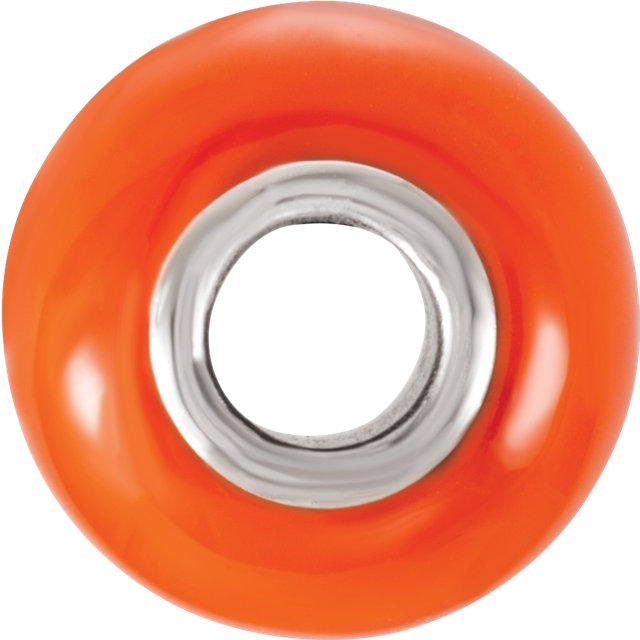 Sterling Silver 9x14 mm Orange Glass Bead