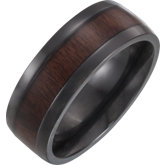 Black Titanium Beveled Edge Comfort Fit Band with Ebony Wood Inlay
