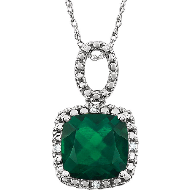 14K White Created Emerald & .03 CTW Diamond 18