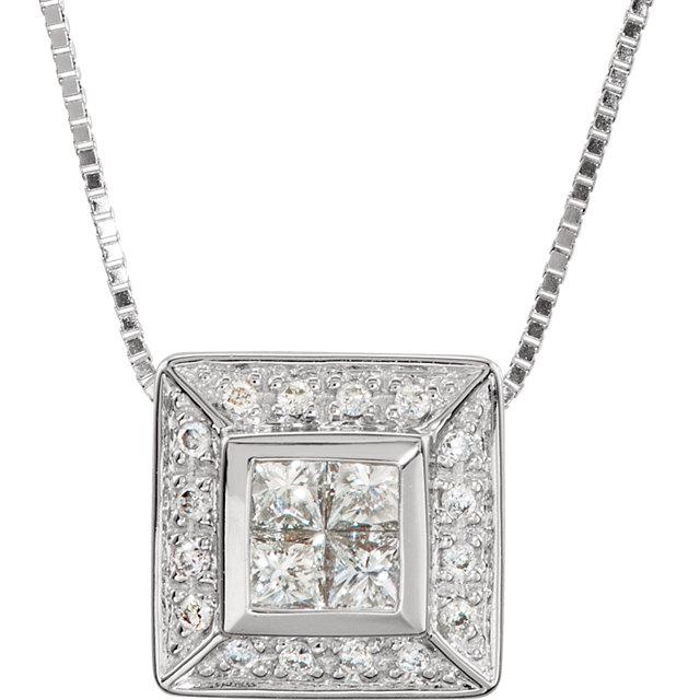 14K White 3/8 CTW Diamond Cluster 18