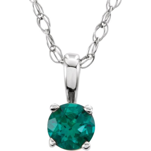 14K White Chatham® Lab-Created Emerald
