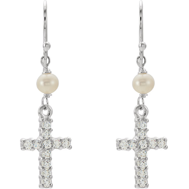 Sterling Silver Freshwater Cultured Pearl & Cubic Zirconia Earrings
