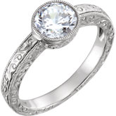 Design-Engraved Solitaire Engagement Ring or Band