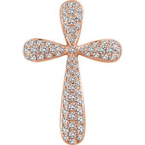 Pendant, 14K Rose 1 CTW Diamond Cross Pendant
