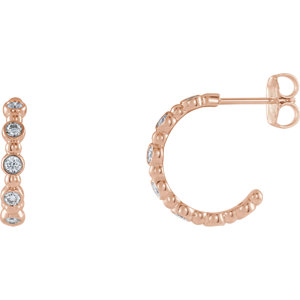 14K Rose 3/8 CTW Diamond Beaded Hoop Earrings