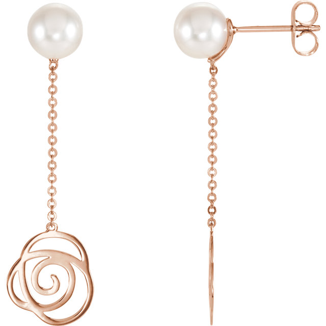 14K Rose Freshwater Cultured Pearl Earrings