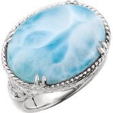 Larimar Rope & Scroll Design Ring