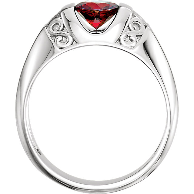 Sterling Silver Men-s Mozambique Garnet Ring