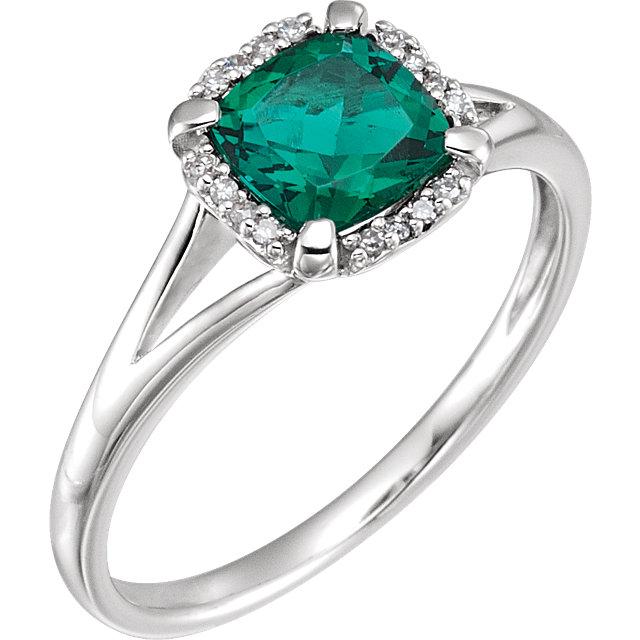 14K White Created Emerald & .05 CTW Diamond Ring