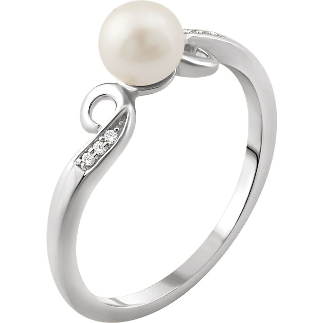 14K White Freshwater Cultured Pearl & .02 CTW Diamond Ring
