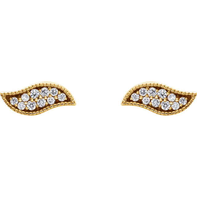 14K Yellow .07 CTW Diamond Earrings