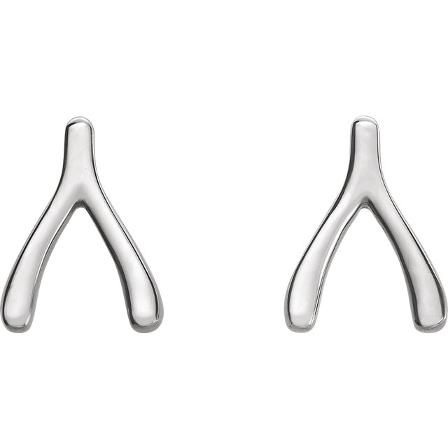 14K White Wishbone Earrings