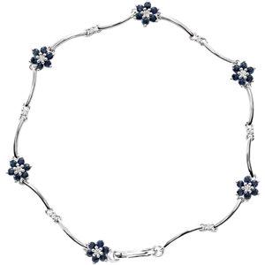 14K White Sapphire & 1/5 CTW Diamond Bracelet