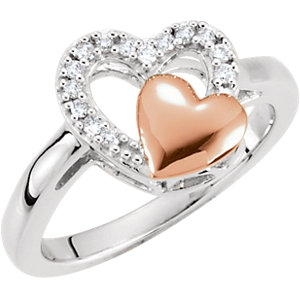 Sterling Silver with Rose Plating 1/10 CTW Diamond Double Heart Design Ring Size 5