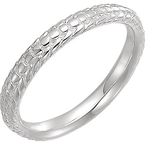 Sterling Silver Beaded Stackable Ring Size 7