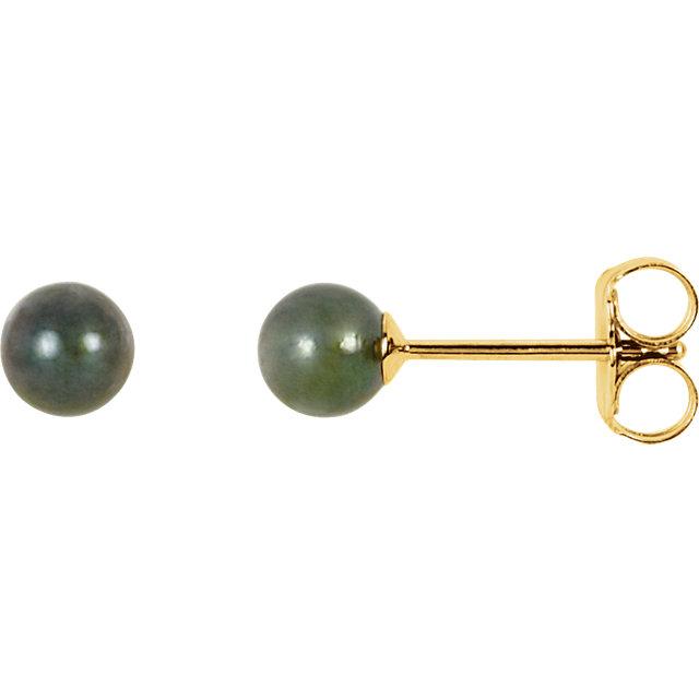 14K Yellow 4 mm Black Akoya Cultured Pearl Earrings