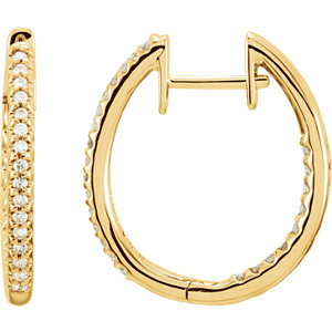 14K Yellow 1/4 CTW Diamond Hinged Inside-Outside Hoop Earrings