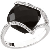 Onyx & Diamond Accented Ring