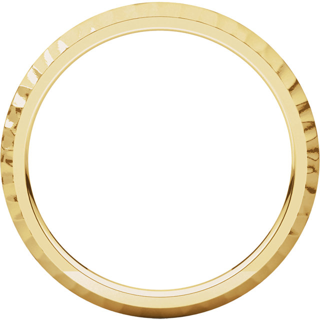 14K Yellow 2mm Comfort-Fit Hammer Finish Band Size 7.5