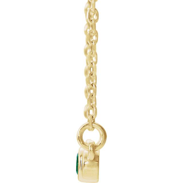 14K Yellow Emerald & .08 CTW Diamond Bezel-Set Bar 16-18
