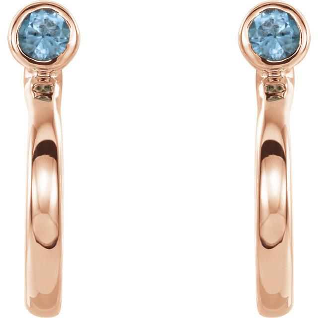 14K Rose 2 mm Round Blue Zircon Bezel-Set J-Hoop Earrings