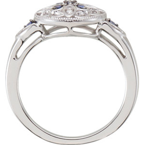 Sterling Silver Sapphire & .03 CTW Diamond Ring Size 7