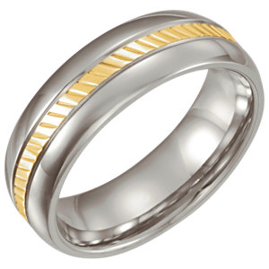 Stainless Steel & 18K Yellow inlay Domed 6.5mm Band Size 6