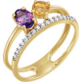 Accented Two-Stone Ring