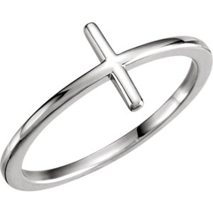 Religious Rings, Sterling Silver Side Cross Ring