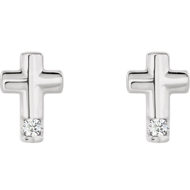 Sterling Silver .03 CTW Diamond Cross Earrings