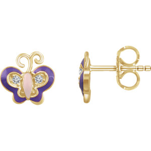 10K Yellow .03 CTW Diamond & Enamel Butterfly Youth Earrings