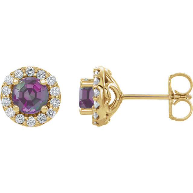 14K Yellow Chatham® Lab-Created Alexandrite & 1/4 Diamond Earrings